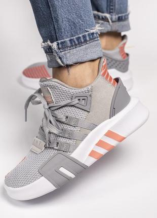 Серые женские кроссовки adidas bask adv eqt