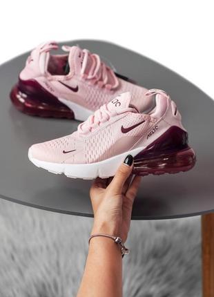 Розовые бордовые кроссовки nike air max 270