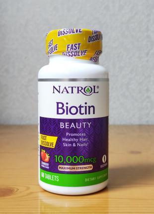 Natrol, Биотин, 10000 мкг, клубника, 60 капсул