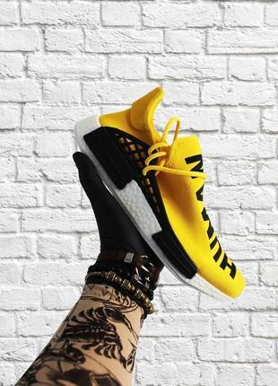 Мужские желтые кроссовки adidas nmd human race yellow white