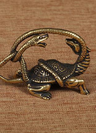 Статуэтка «Черепаха и змея», художественное литье из бронзы.