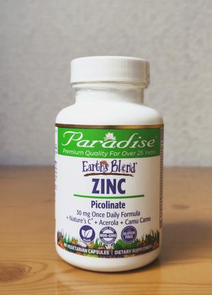 Цинк Пиколинат, Paradise Herbs, 30 мг, 90 капсул