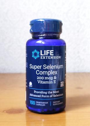 Life Extension, Комплекс супер селен и витамин Е, 200 мкг, 100шт