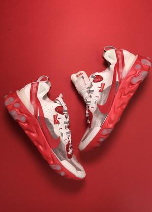 Красные мужские кроссовки nike react element 87 supreme red white