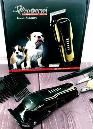 Беспроводная Машинка для стрижки кошек и собак животных GM 606...