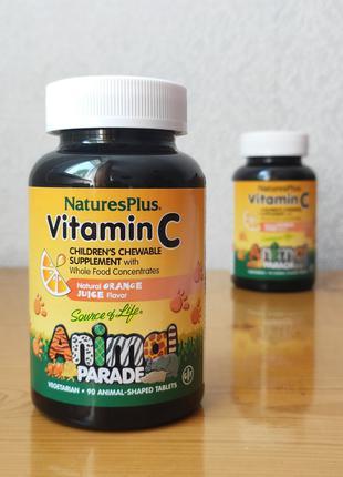 Витамин С для детей Vitamin C, Animal Parade, 90 шт, Natures Plus