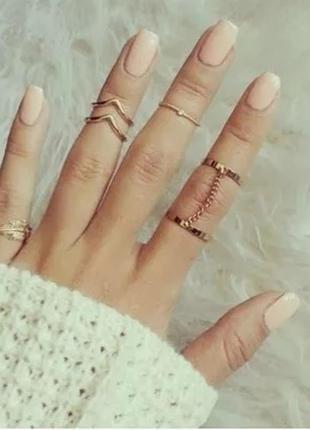 Кольца на фаланги 6 шт золотого цвета