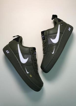 Женские кроссовки цвета хаки nike air force 1 low green