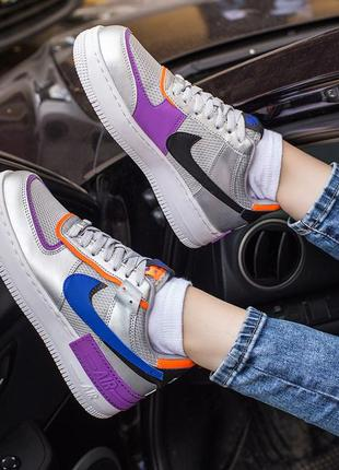 Nike air force 1 shadow metallic silver 🆕 женские кроссовки на...