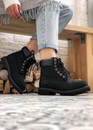Ботинки timberland 6 inch premium black (без меха)
