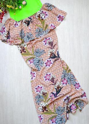 Длинное платье в цветы с открытыми плечами и разрезами zara
