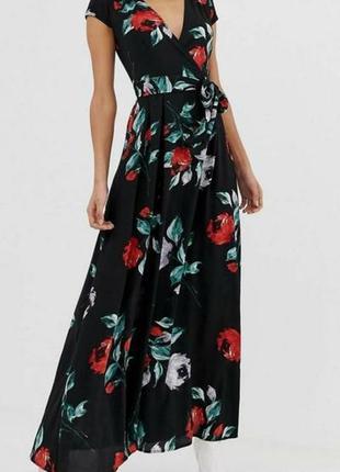 Платье длинное на запах размер 48