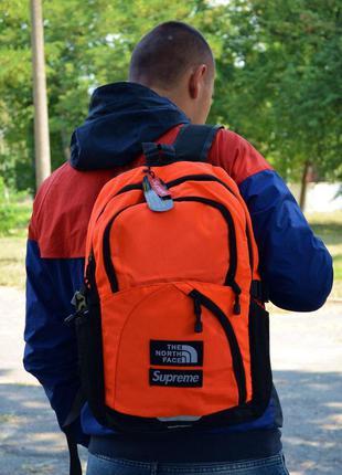 Рюкзак городской спортивный supreme x tnf backpack orange black