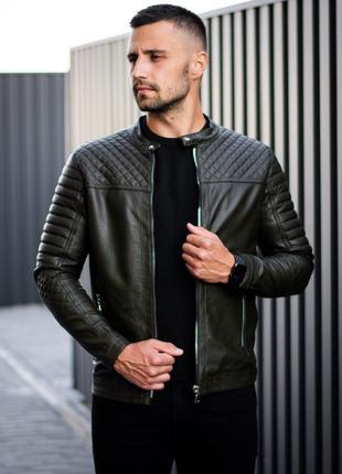 Мужская кожаная куртка Lisabon Khaki | S-XL