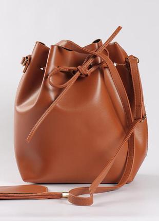 Удобная вместительная сумка рыжая