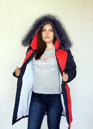 Разм. 44-54 Куртка парка Элен, силикон и + на меху, красная