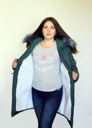 Разм. 44-54 Куртка парка Элен, силикон и + на меху, зеленый