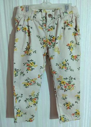 Серые брюки с цветами zara р. 18-24 мес (92)