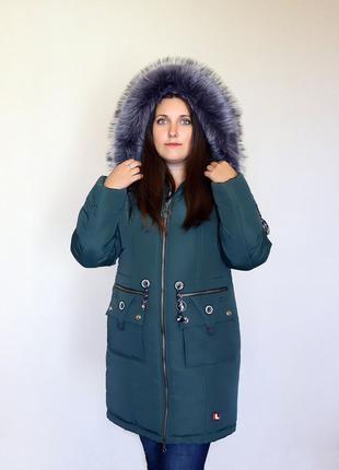 Разм. 44-54 Зимняя куртка парка Ирэна зеленый