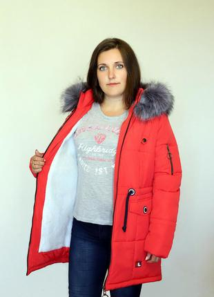 Разм. 44-54 Куртка парка Лана, силикон и + на меху, красная