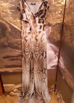 Платье сарафан в леопардовый змеиный принт в пол