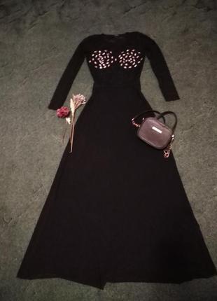 Платье вечернее, в пол, чёрное