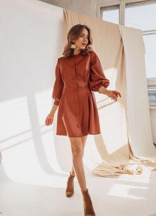 Платье 👗 женское ткань кожа на замше коричневый цвет