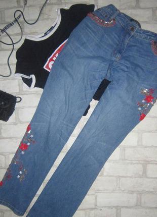 Потрясающие джинсы с вышивкой и пайетками