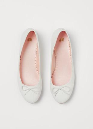 Балетки h&m, туфельки из искусственной кожи белого цвета 35р