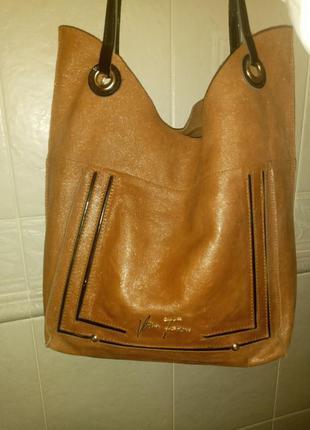 Velina fabbiano  кожаная коричневая сумка хорошее состоянии