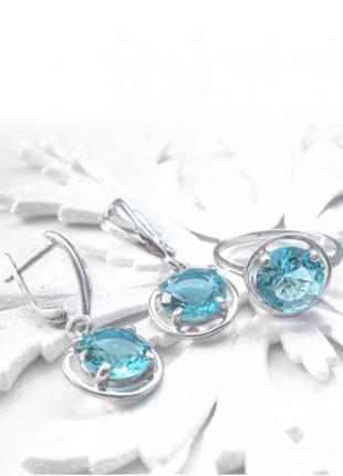 Серебряные серьги с камнем