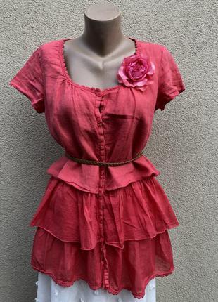 Красная лен блуза,рубаха,туника,кружево,рюши,воланы,этно бохо ...