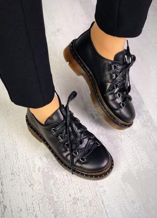 Натуральная кожа эксклюзивные закрытые туфли на грубой подошве...