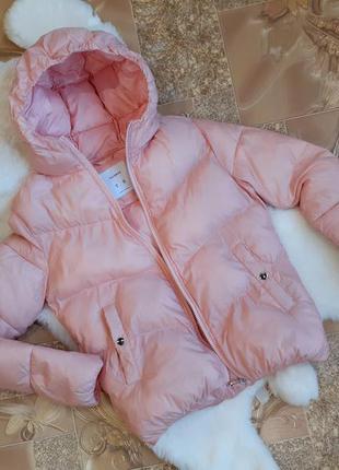 Куртка курточка на синтепоне демисезонная дутая пудровая перси...