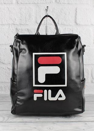 Рюкзак-сумка кожзам черный