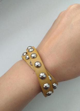 Двойной стильный кожаный браслет