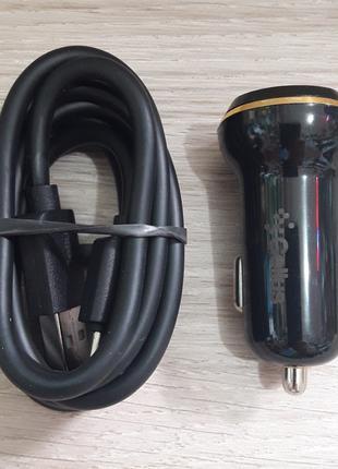 Автомобильное зарядное устройство 2USB 2.4A + кабель MicroUSB