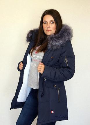 Разм. 44-54 Куртка парка Лана, силикон и + на меху, темно-синяя2