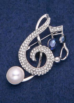 Брошь скрипичный ключ и ноты
