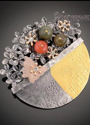 Стильнейшая брошь подвеска 2 в 1 с натуральными камнями