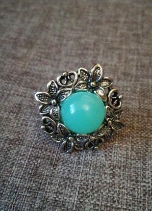 Кольцо перстень с бирюзовым камнем