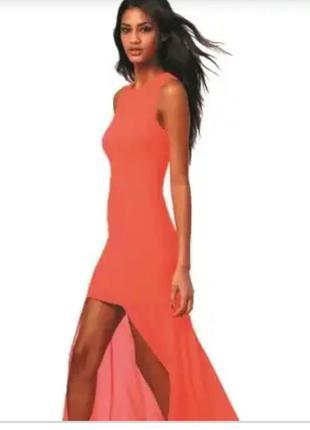 Базовое платье майка терракотового цвета ассиметричный низ