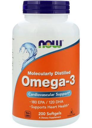 Now Foods, Omega-3, 180 EPA/120 DHA, 500табл. Рыбный рыбый жир...