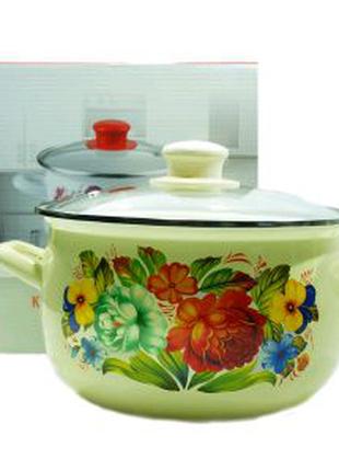 Кастрюля Н08-Татьяна 4Л Эмалированная посуда Эмалированная посуда