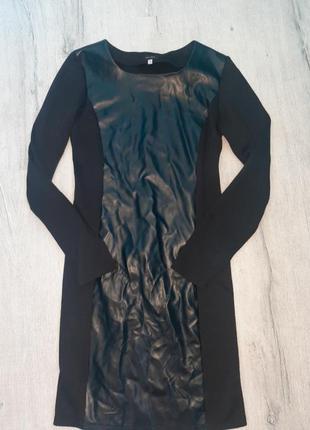 Стильное женское платье вставки эко кожа