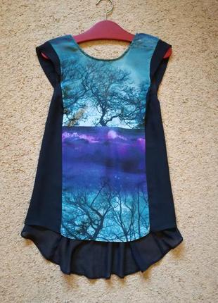 Шифоновая блуза с картиной удлиненная спинка