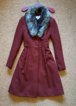 Пальто с меховым воротником миди 36 размер h&m