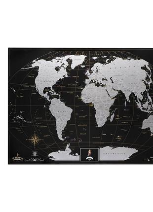 Скретч-карта мира My Map Black edition Silver (английский язык)