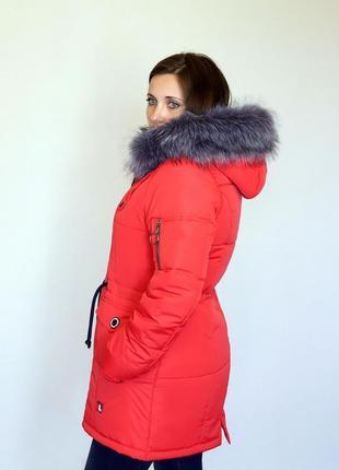 Разм. 44-54 Зимняя куртка парка Анна красная