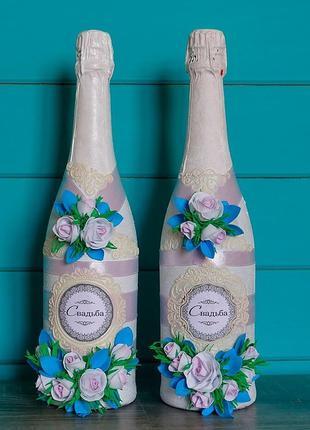 Украшение-декор на свадьбу шампанского-бокалов-свечей